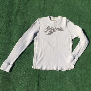 Abercrombie & Fitch Cream Long Sleeve Muscle Tee